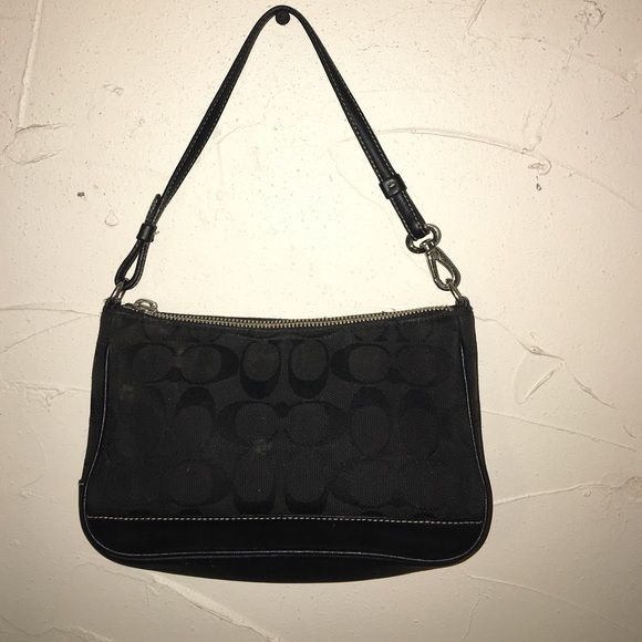 Black authentic coach pouchette Used and loved black mini coach shoulder bag, too part of zipper pull fell off but nothing a cute keychain can't fix! Otherwise in good used condition Coach Bags Mini Bags