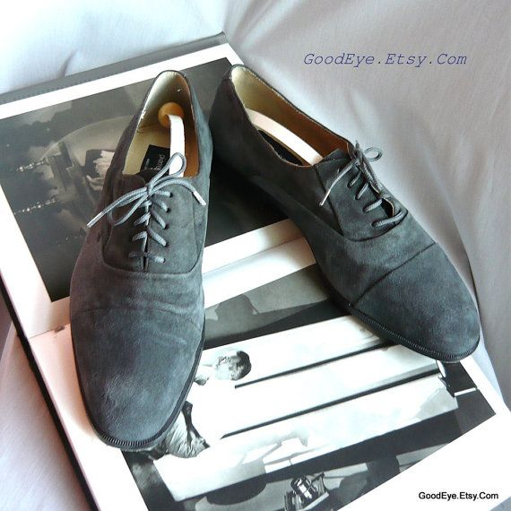 d34792a9457c0 Vintage PIERRE CARDIN Suede Oxford Mens Shoes / size 9 D Eu 43 UK 8 ...