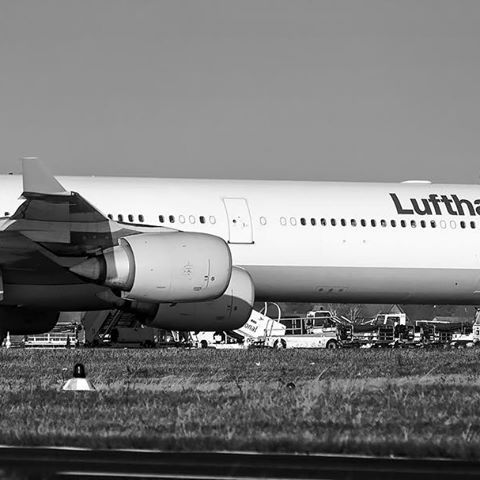 This Lufthansa Airbus A340600 was parked at an unusual