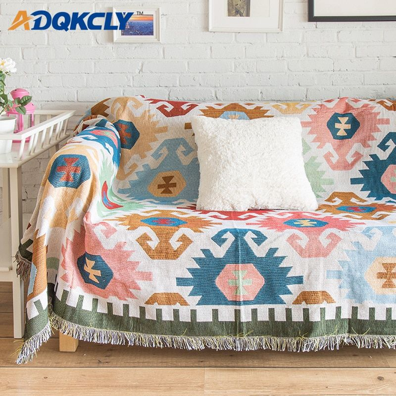 Adqkcly Nordic Bohemia Style Sofa Blanket Cover Soft Cotton Knitting Thick Bedspread Sheet Table Cloth Picnic Floor Sofa Blanket Cover Sofa Blanket Sofa Covers