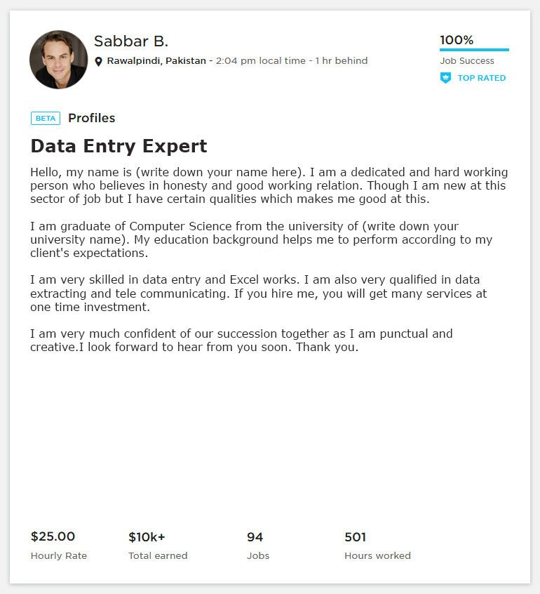 Freelancer Data Entry Overview Sample And Example Data Entry Data Entry Jobs Job Cover Letter