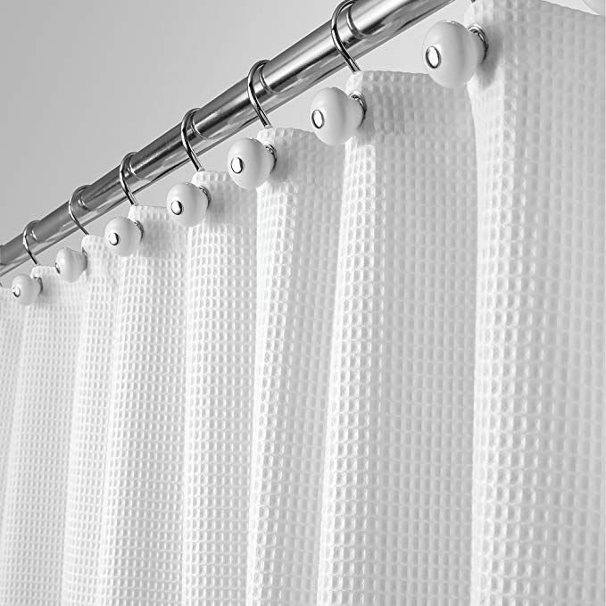 Mdesign Long Hotel Quality Polyester Cotton Blend Fabric Shower Curtain Rustproof Metal Grom Fabric Shower Curtains Cotton Shower Curtain White Shower Curtain