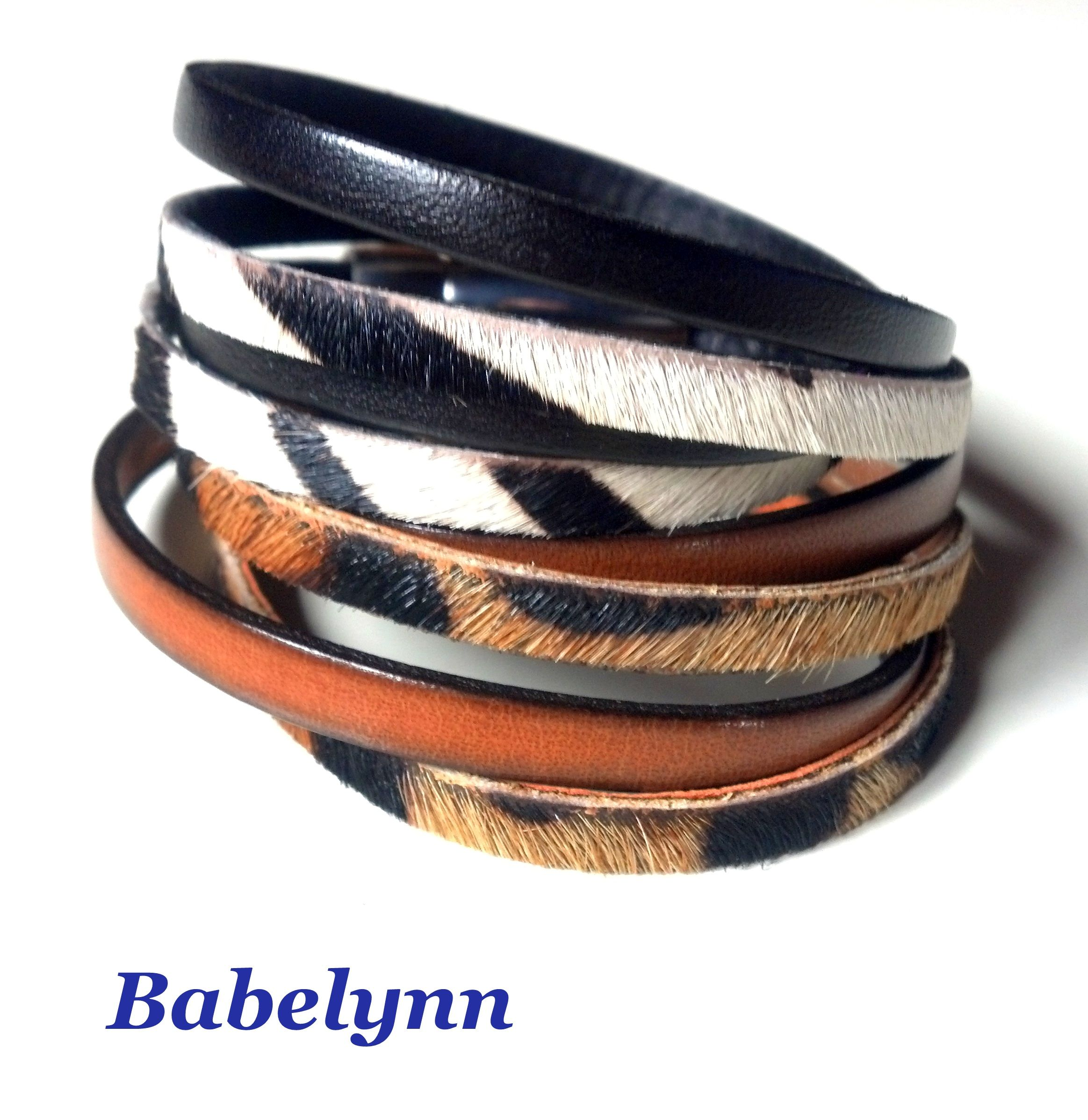 9366099c9e98 Pulseras de cuero y piel de potro con estampado animal. Hair on leather  bracelets with