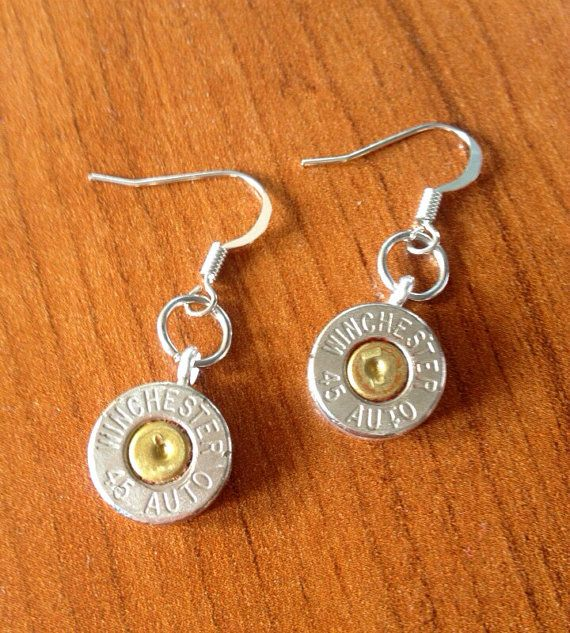Silver Winchester 45 caliber bullet earrings by Myparttime on Etsy