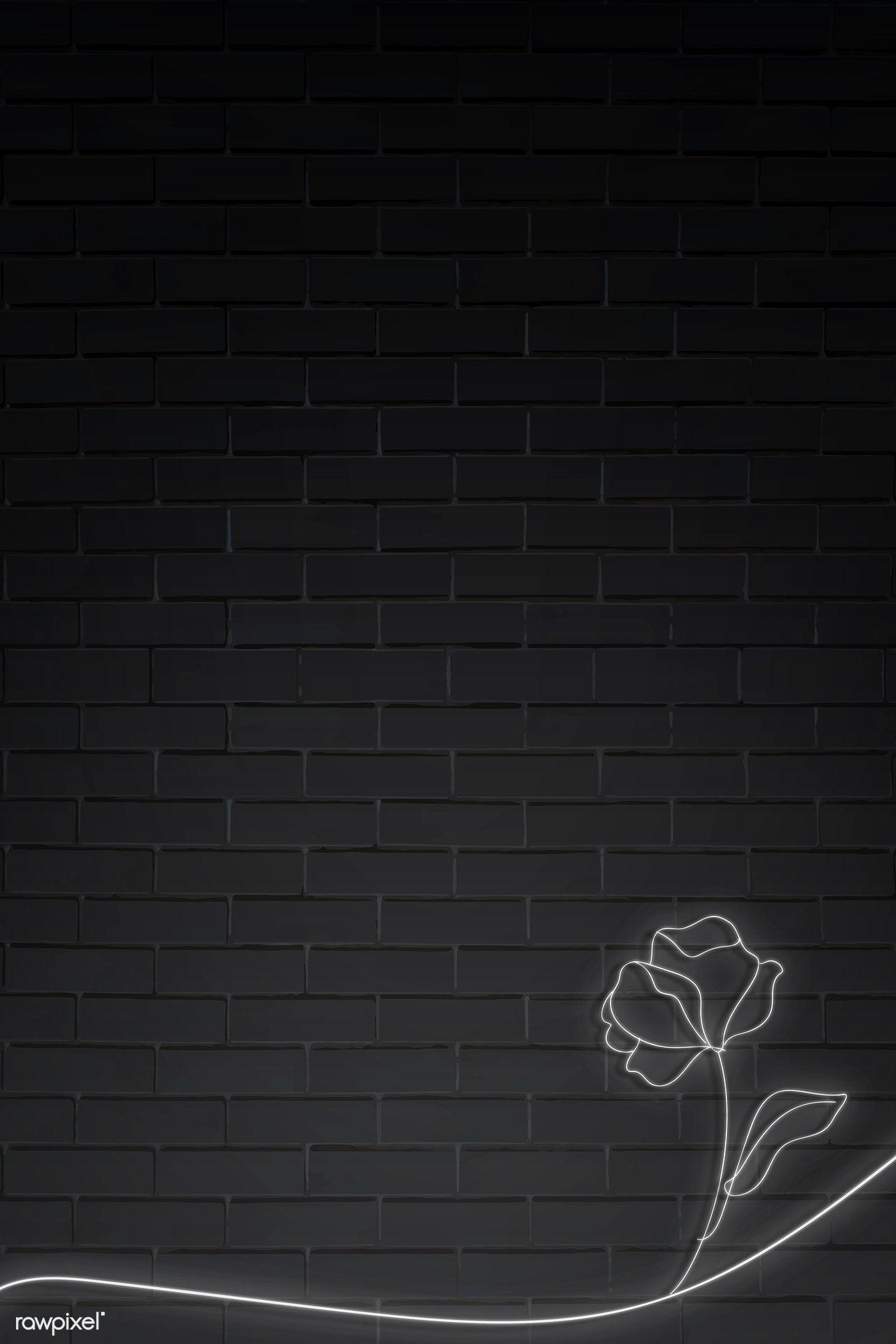 Download Premium Vector Of Neon Lights Flower On Black Brick Wall Vector In 2020 Black Brick Wall Black Brick Neon Lighting