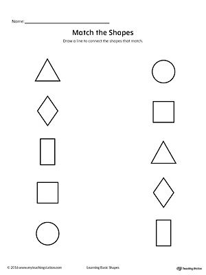 Match Geometric Shapes Square Circle Triangle Rectangle And