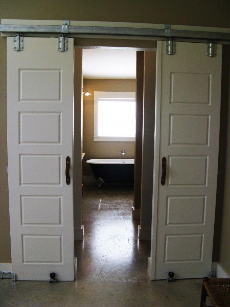 Interior sliding doors for bathroom - Nice White Sliding Barn Doors For Bathroom With Steel Railing Design Ideas Attractive Sliding Barn