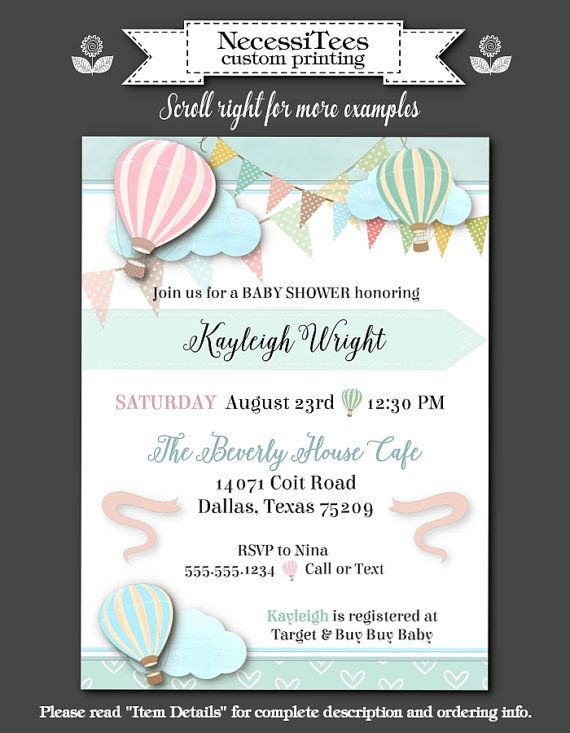 printed party invitations pastel hot air balloons invite with envelope bridal shower baby shower birthday party engagement party