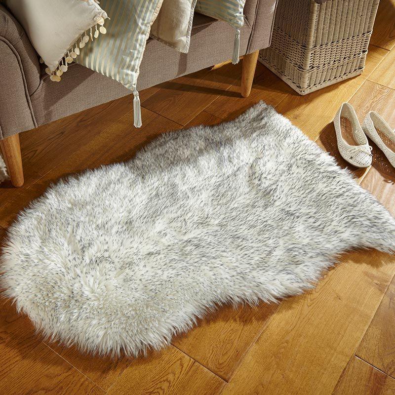 Faux Fur Sheepskin Grey Tipped Faux fur rug, Faux