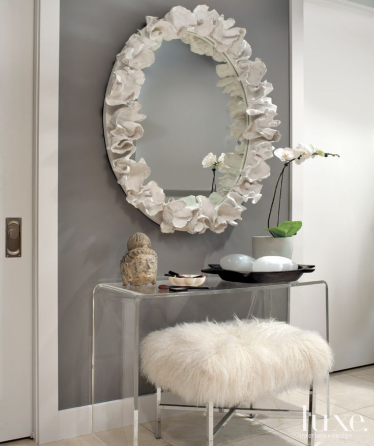 grey fur rug padded bench closet design ideas | Contemporary Gray Living Room Detail with Faux Fur Bench ...