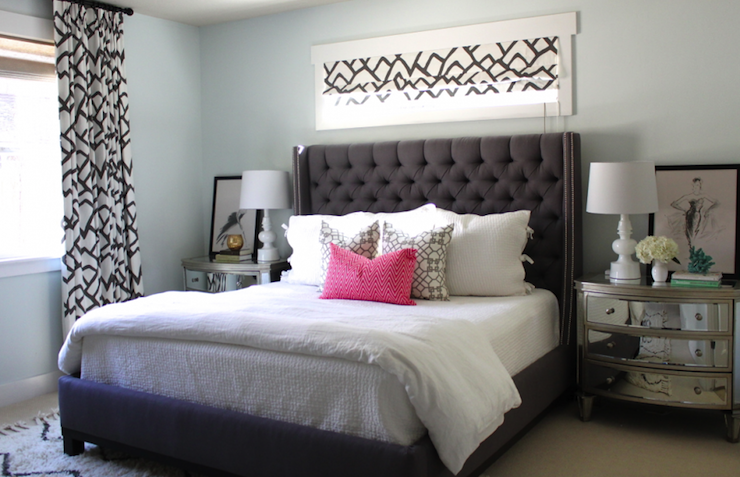 Dreamy Bedroom With Charcoal Gray Tufted Headboard With Nailhead Trim The Bed Is Dressed In White Bed Linens Bedroom Design Master Bedroom Design Home Bedroom