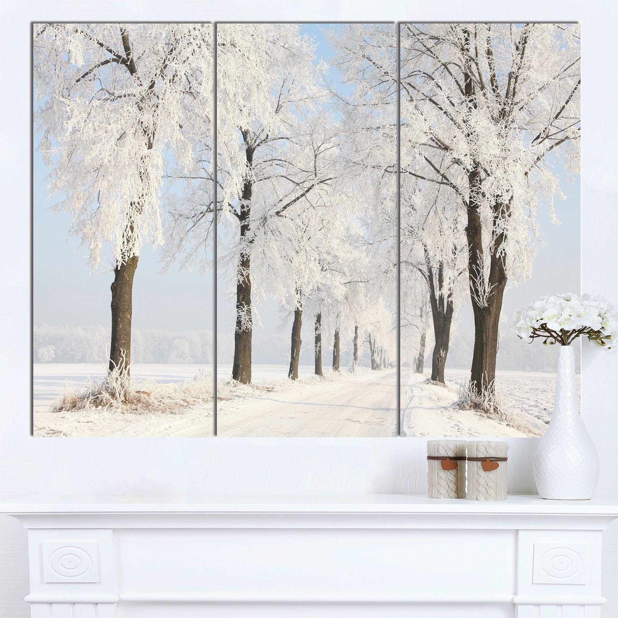 DESIGN ART Designart 'Winter Lane on Sunny Morning' Modern