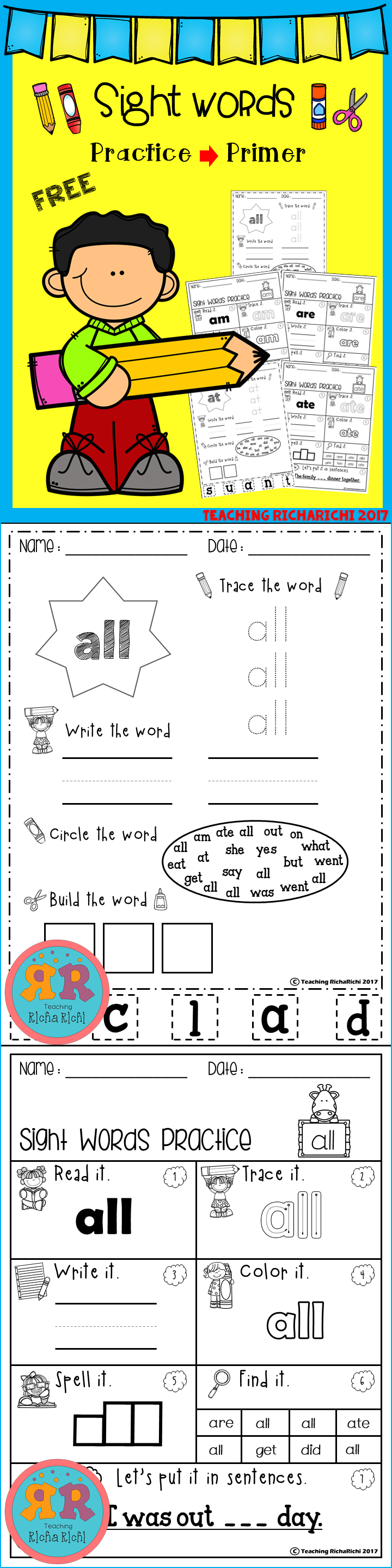 Freebie Sight Word Practice Pages Sight Words Sight Word Practice Kindergarten Activities [ 2880 x 720 Pixel ]