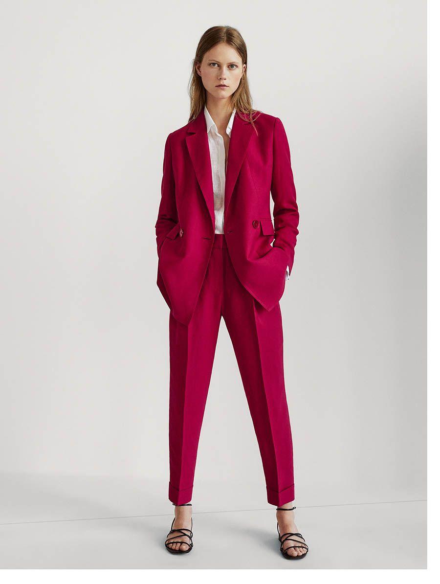 Massimo Dutti Trajes De Pantalon Para Mujer Trajes De Pantalon Traje Rojo