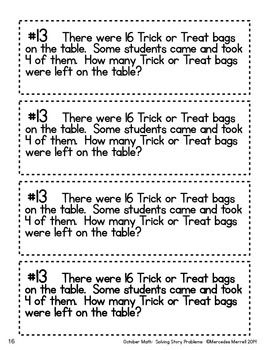 October Math: Solving Story Problems First Grade 1.OA.1 with ...