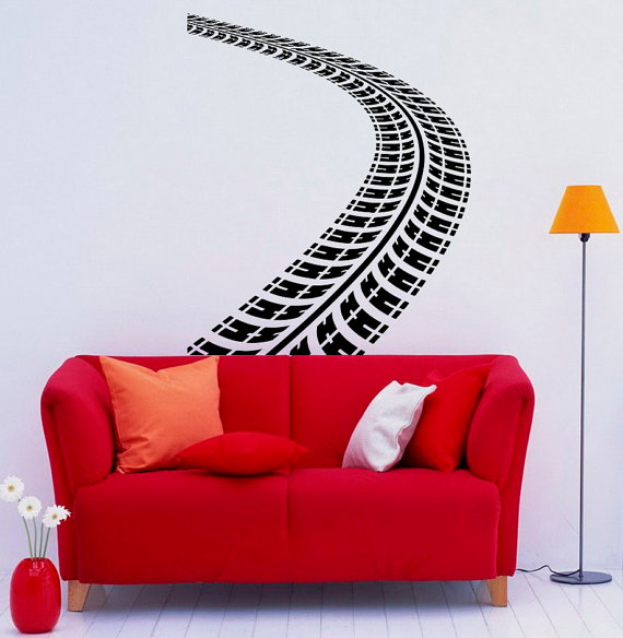 tire tracks wall vinyl decal dirt road with traces stickers art