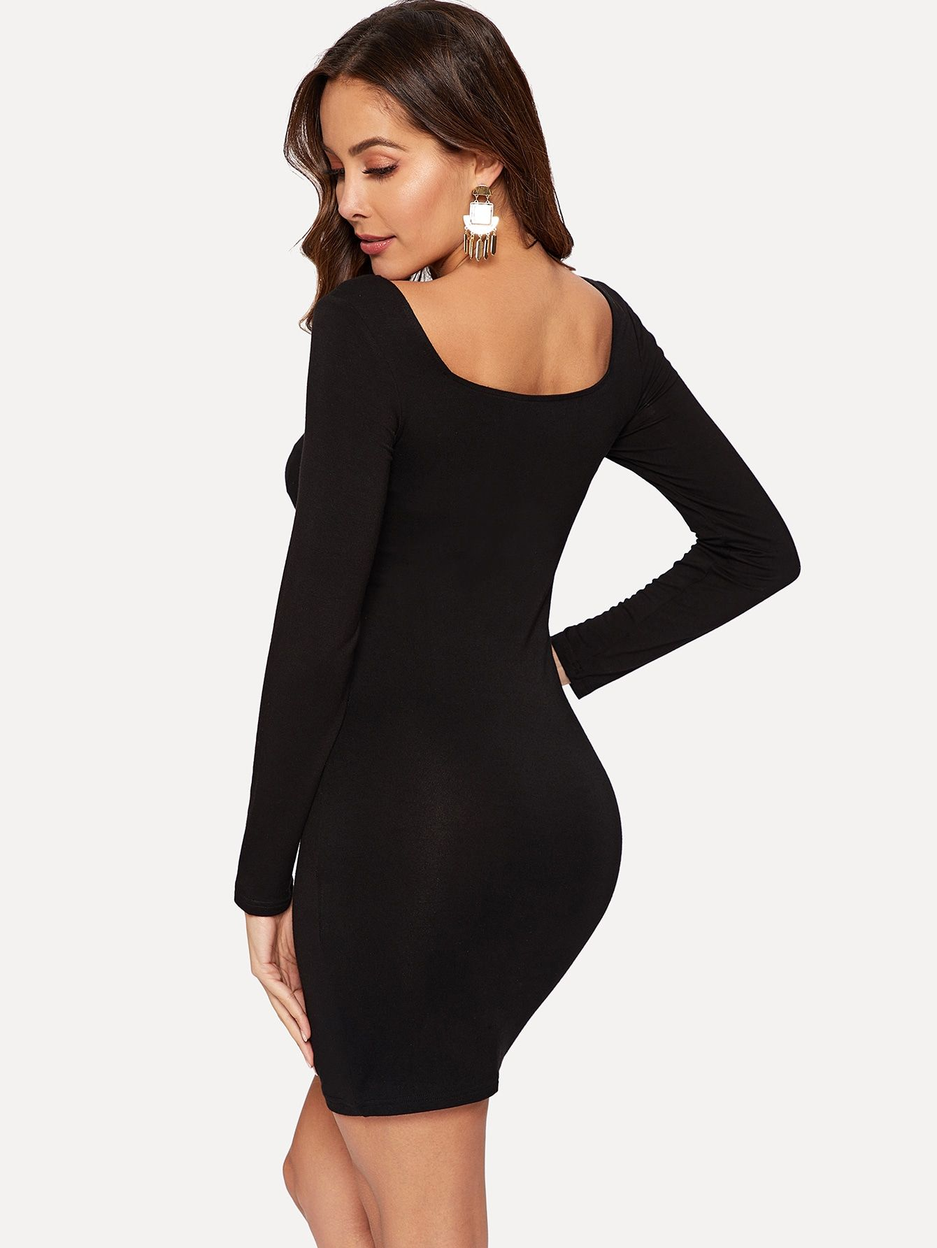 Zipper Up Double Square Neck Bodycon Dress Shein Sheinside Bodycon Dress Neck Bodycon Dress Dresses [ 1785 x 1340 Pixel ]