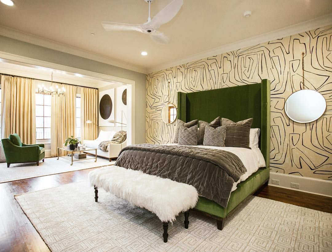 Best Graphic Wallpaper Green Velvet Bed Modern Art All Make For The Perfect Master Suite 400 x 300