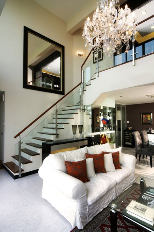 Modern / Traditional mix - love the glass railing..... | For the ...