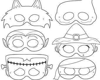 Monster Printable Coloring Masks Halloween By Happilyafterdesigns