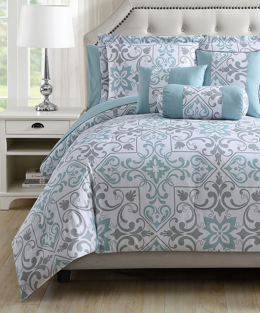S.L. Home Fashions Gray U0026 Mint Esch Comforter Set