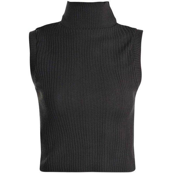 Laura Rib Knit Turtle Neck Crop Sleeveless Jumper ($2.85) ❤ liked ...