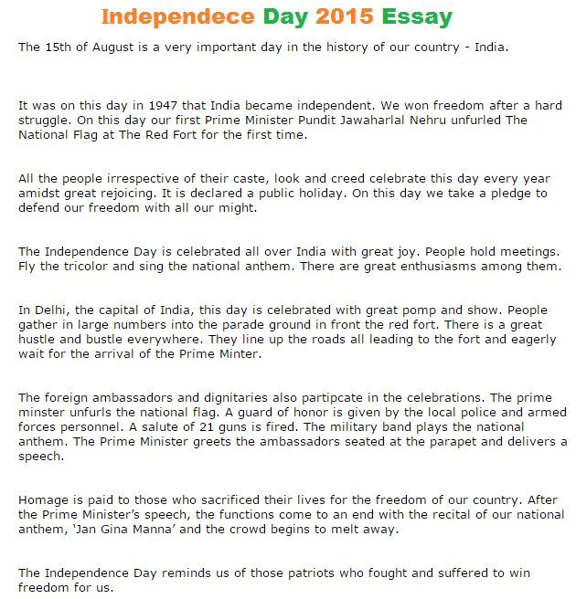 independence day short essay  independence day india