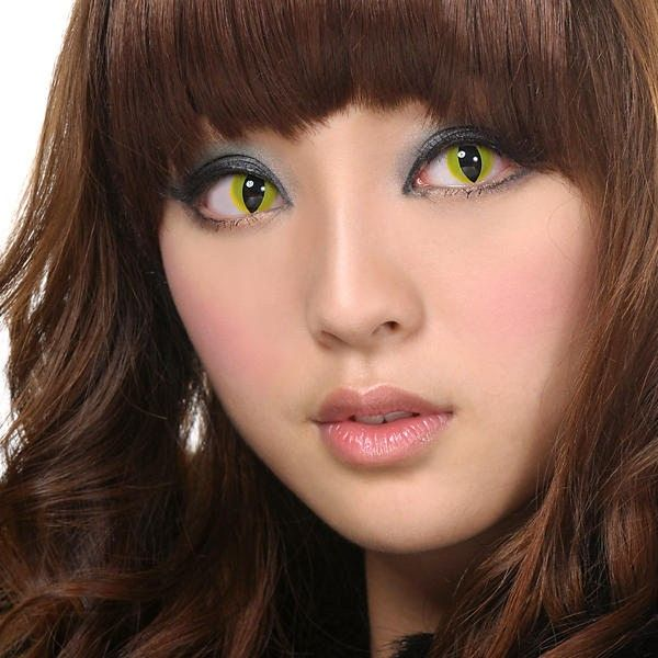 Cat eye contacts yellow geo sf 05 halloween series geo - Scary yellow eyes ...
