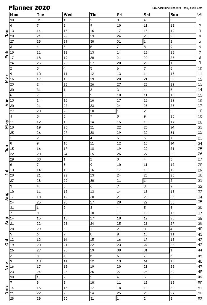 Printable Planner 2020 With Week Numbers One Page Portrait Paper Orientation Weeks S Planner Calendar Printables Calendar Printables Free Printable Calendar