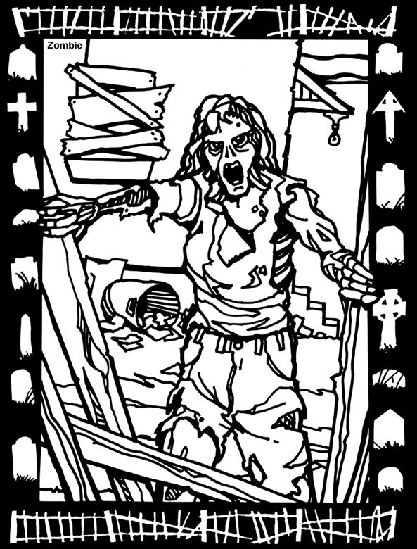 House of Horror STAINED GLASS Coloring Book By: Jeff A. Menges -  Dover Publications COLORING PAGE 1