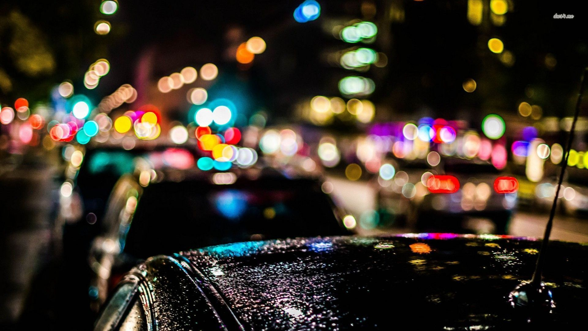 19127 Blurred City Lights Over The Cars 1920x1080