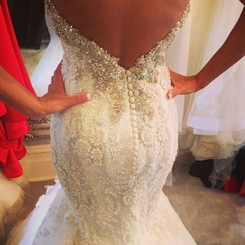 Gorgeous Lace Wedding Dress With Low Back And White Button Detail