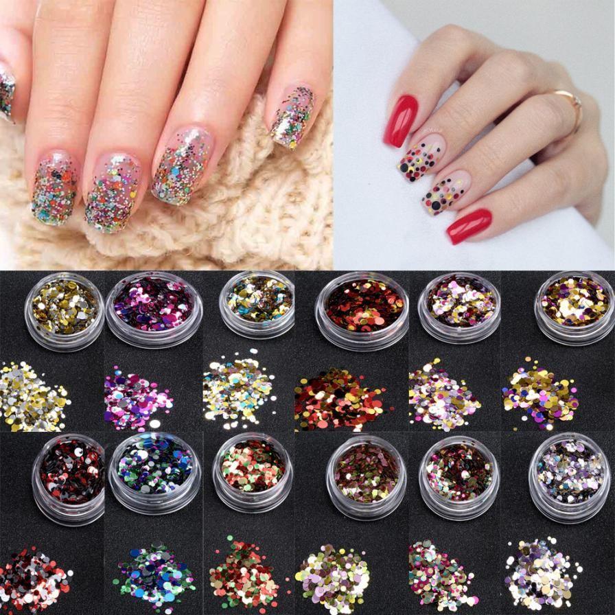 1 Box Shiny Nail Art Glitter Paillette Tips UV Gel 3D Nail ...