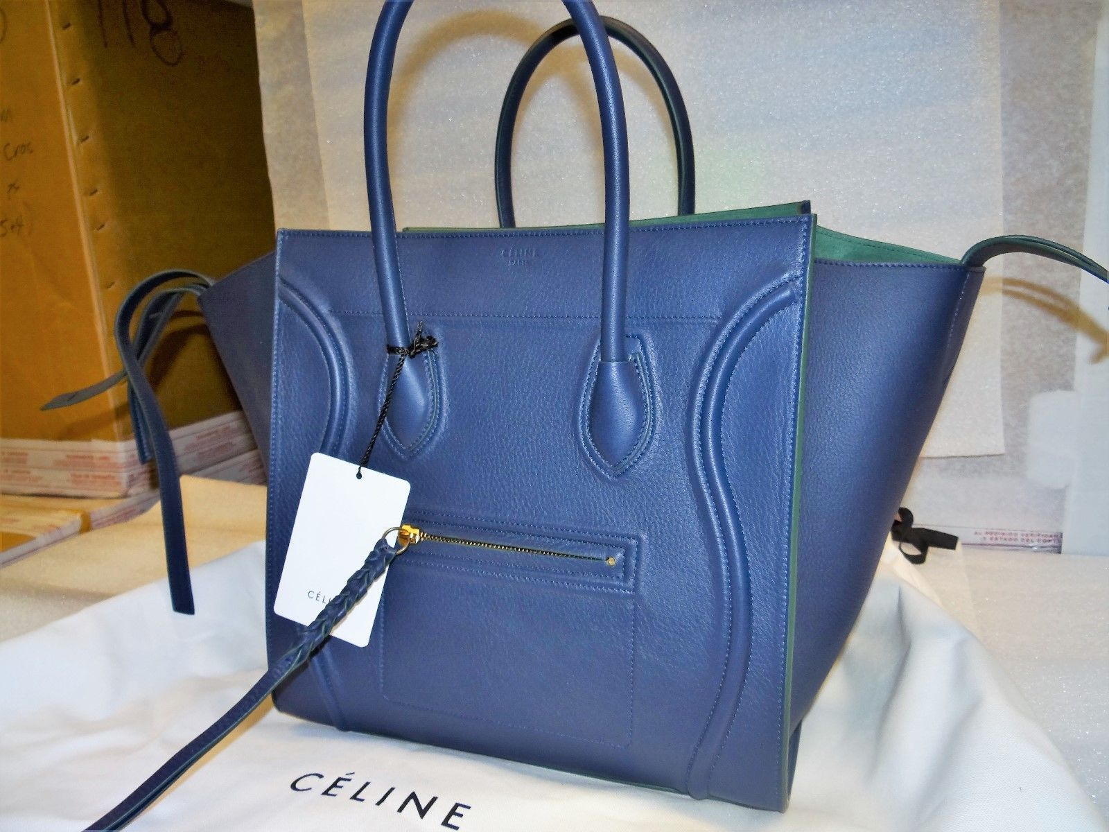 9de94c1005fb Celine Medium Luggage Phantom Tote In Navy W  Green Leather Msrp 3200.00 Nwt