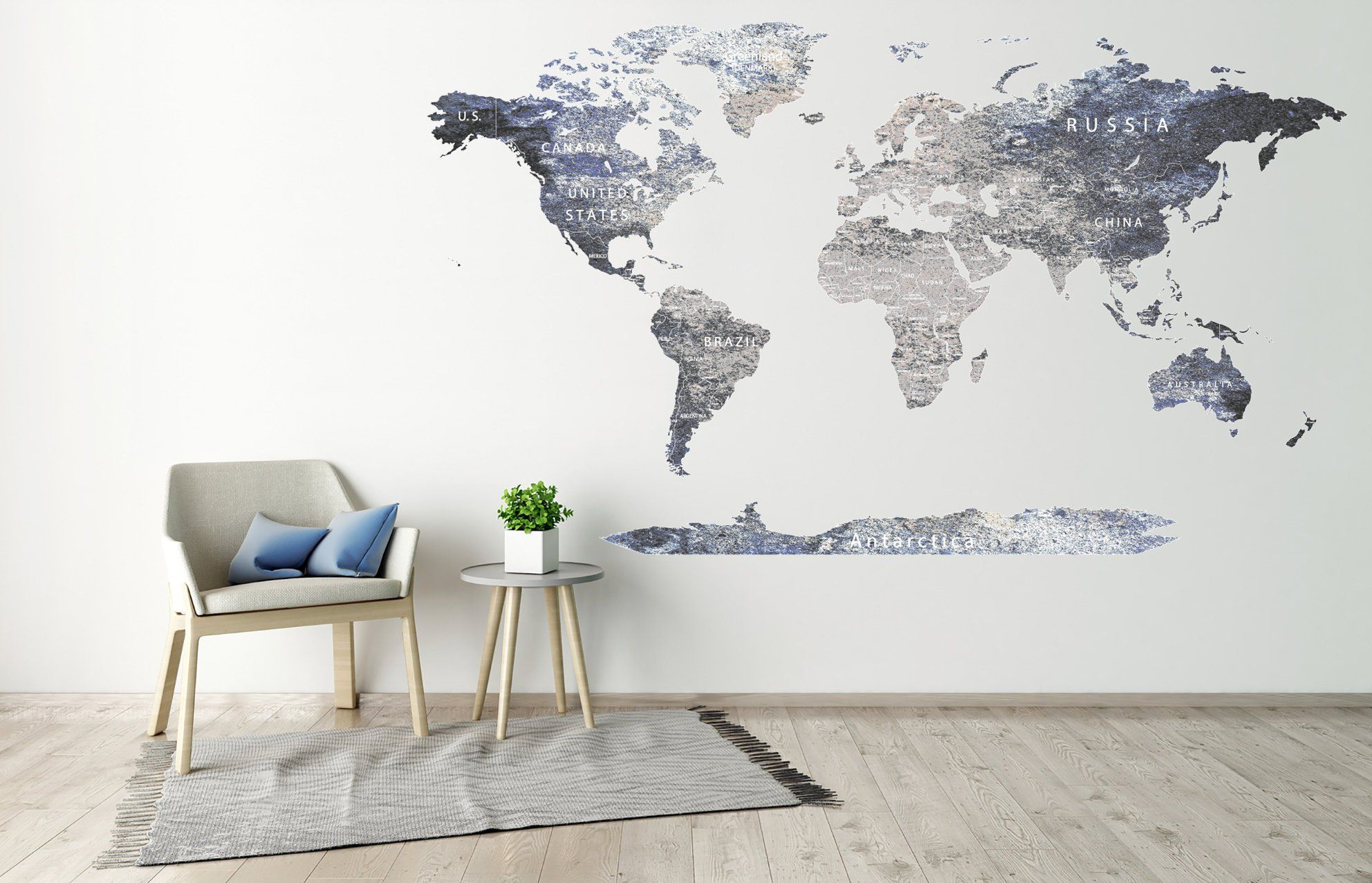 Vinyl Printed Сolorful titles Gray World map Poster Detailed Map Decal Print Map with countries Push pin World map decal Map of world decor #worldmapmural