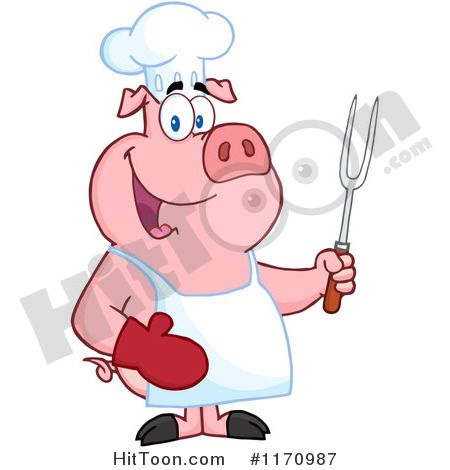 cartoon of a bbq chef pig holding a fork royalty free vector rh pinterest com free pampered chef clipart Pampered Chef Graphics