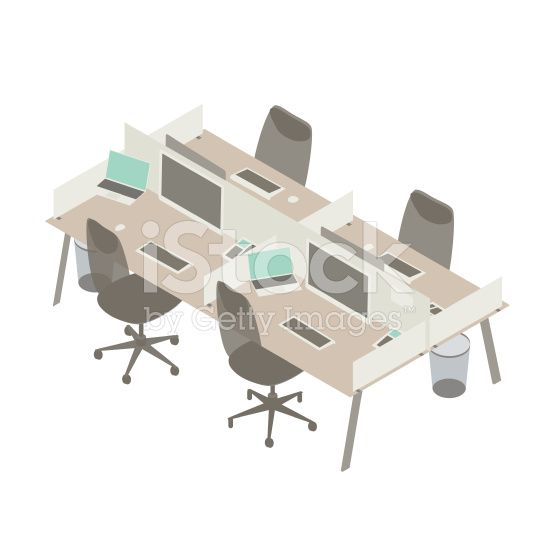 Illustration of 4 lightcolored office cubicles seen in a