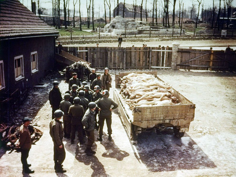 Liberating soldiers of Lt. General George S. Pattons 3rd Army, XX Corps, are shown at Buchenwald concentration camp near Weimar, Germany, on April 11, 1945. (AP Photo/U.S. Army)