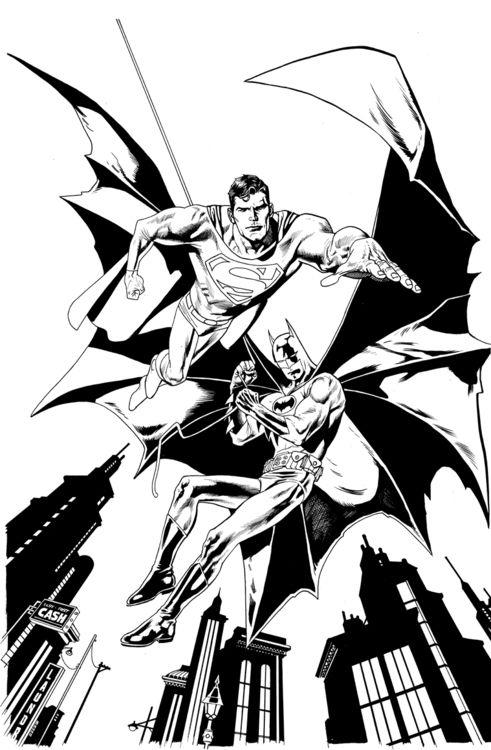Superman Batman By Kevin Nowlan Love This Superman Coloring Pages Batman Coloring Pages Coloring Books