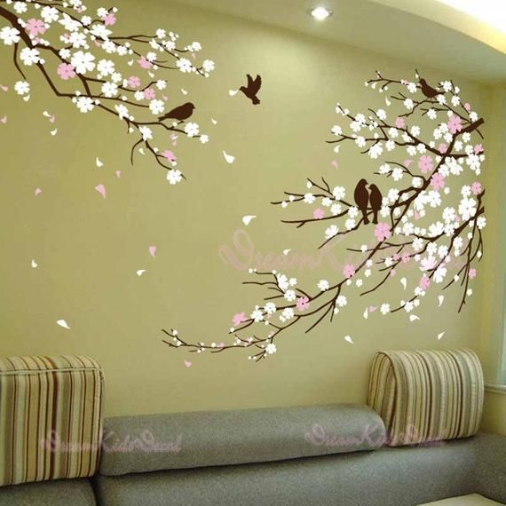 Cherry Blossoms Wall Decal Wall Sticker Tree Decals Dk006 Etsy Deco Mur Stickers Muraux Decoration Mur