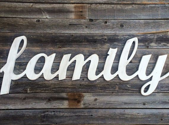 Family Large Wooden Letters Script Word Wooden Wall Art