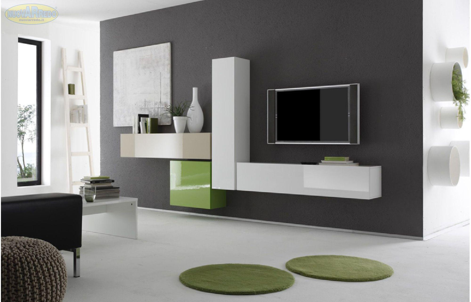 Parete Attrezzata Tortora E Bianco mobili salotto moderni prezzi