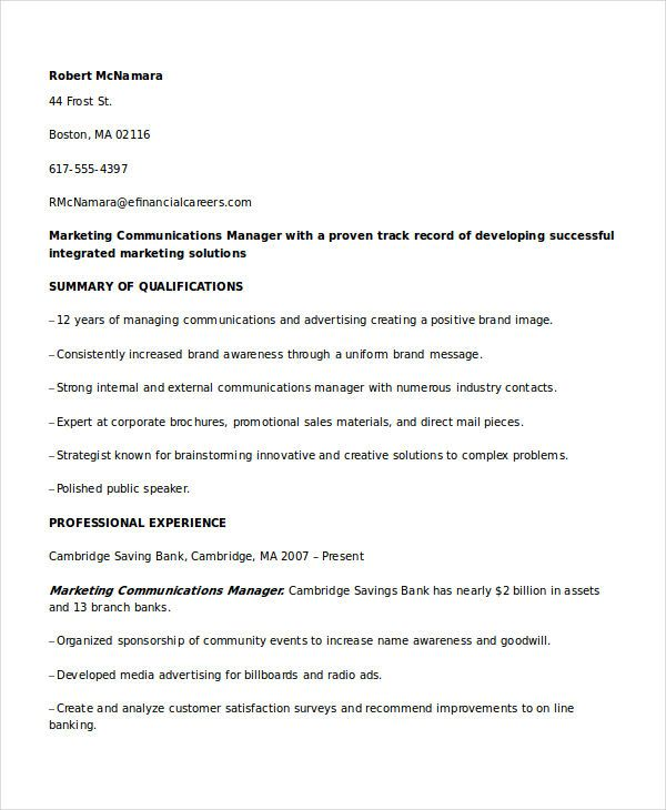 Marketing Communications Manager Resume , Marketing Resume Samples - communication resume sample