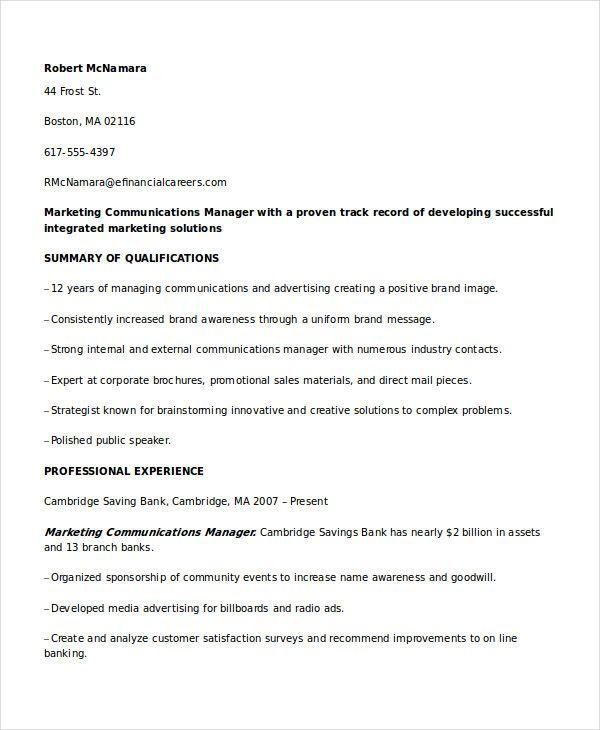 Marketing Communications Manager Resume , Marketing Resume Samples
