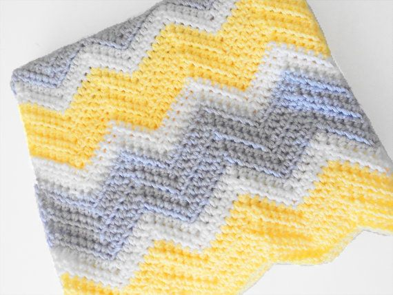 Crib Size Crochet Chevron Baby Blanket in Yellow, White and Light ... : yellow and gray baby quilt - Adamdwight.com