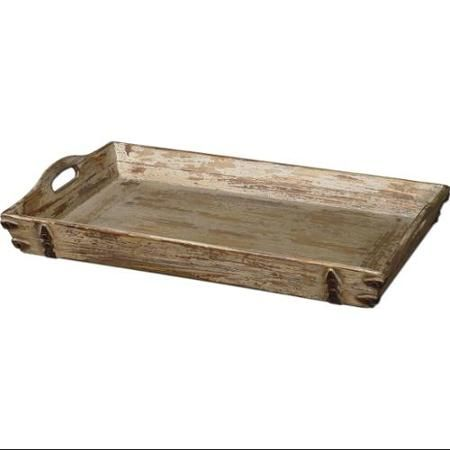 Wooden Decorative Trays Custom Antiqued Cream Finish Distressed Carrying Tray  Trays Walmart Design Decoration