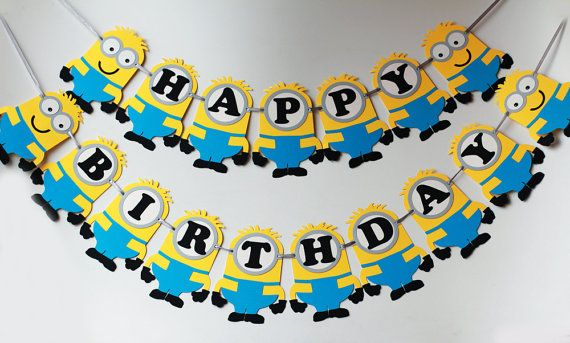 Minion birthday banner Minion party banner by RaisinsPartySupplies
