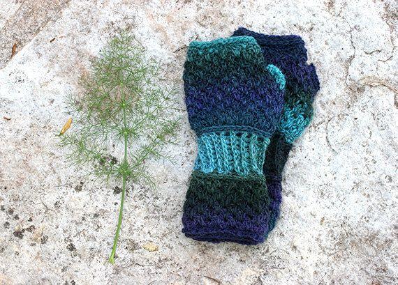 Fingerless gloves in shades of blue crochet by MarryGKnitCrochet, $35.00