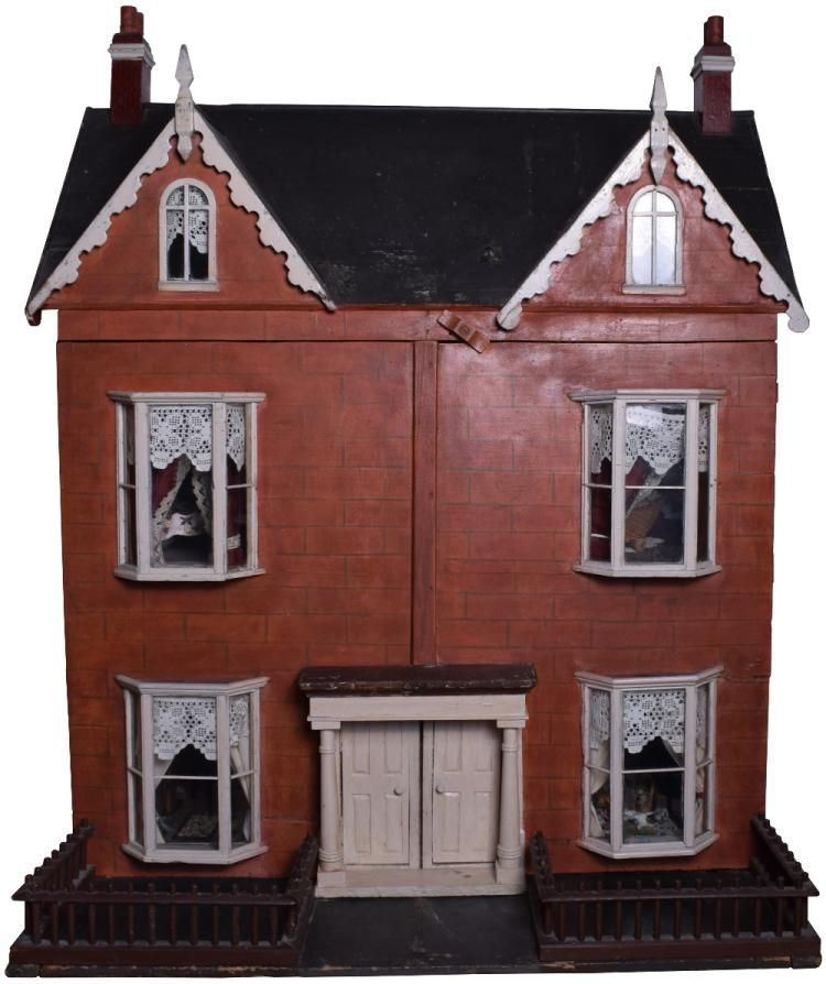 A Large Wooden Red Brick Painted Semi Detached Dolls Houses And