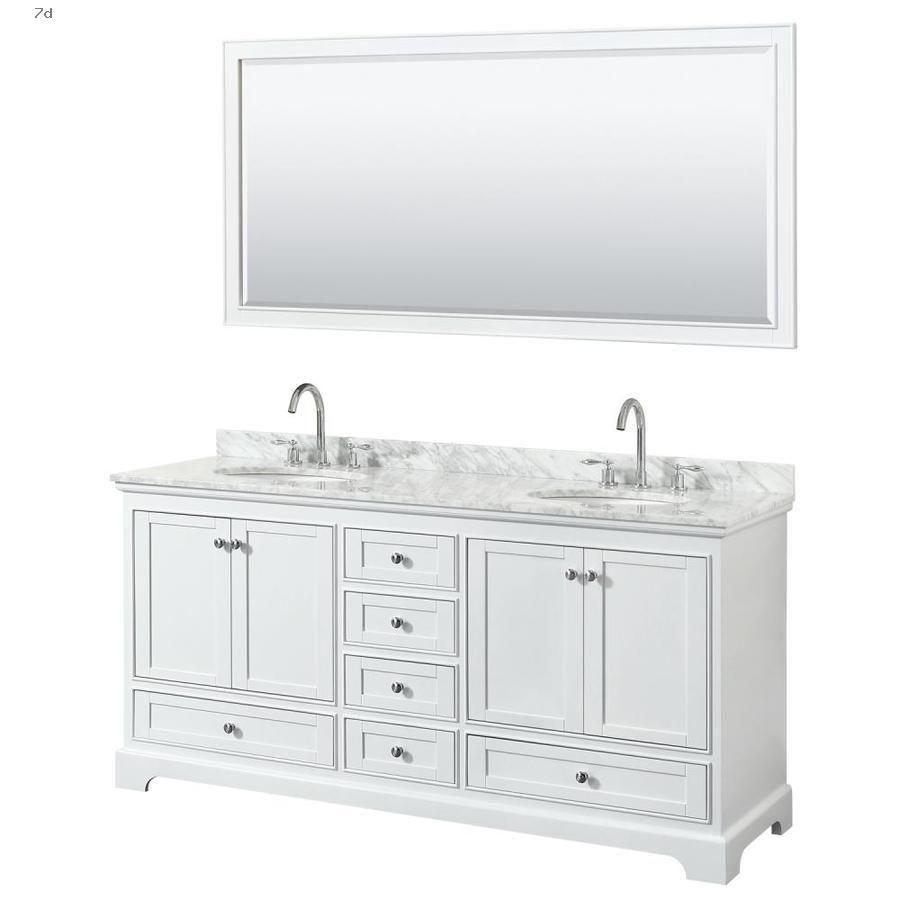 Shop Bathroom Vanities With Tops Wyndham Collection Deborah 72 In White Double Sink Bathroom Vanity With Carrara Marble Natural Top Mirror Included In 2020 Double Vanity Bathroom Marble Vanity Tops Double Vanity